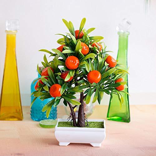 Coooi Künstliche Topfpflanze, kleiner Orangenbaum, Bonsai, künstliche Blume, Bürodekoration, Möbel, Bonsai-Set, Kunstpflanzen, Outdoor-Dekor A