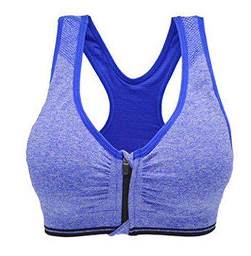 westeng 1pc mujeres sin costuras sujetador deportivo Yoga almohadillas extraíbles comodidad frontal con cremallera sujetador de deporte, Azul L, Medium, B