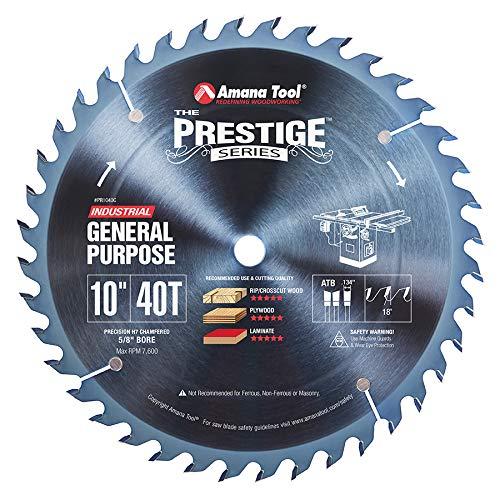 Amana Tool - PR1040C Electro-Blu Carbide Tipped Prestige General Purpose 10 Inch Dia 40T A