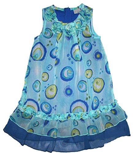Blue Seven Sommerkleid in Aquablau mit Tüllbesatz, weit schwingende A - Linie (98)