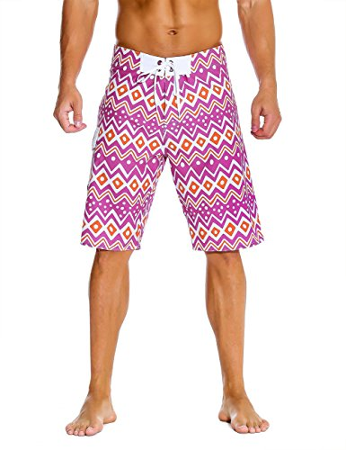 Nonwe Men's Swimwear Grid Printed Elastic Beach Shorts Quick Dry with Lining Purple 36