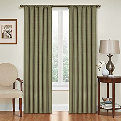 ECLIPSE Kendall Thermal Insulated Single Panel Rod Pocket Darkening Curtains for Living Room