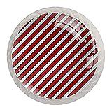 White & Red Stripe-01 pomos de cristal de 3.18 cm tiradores de cajón de cristal transparente para cocina, (paquete de 4)