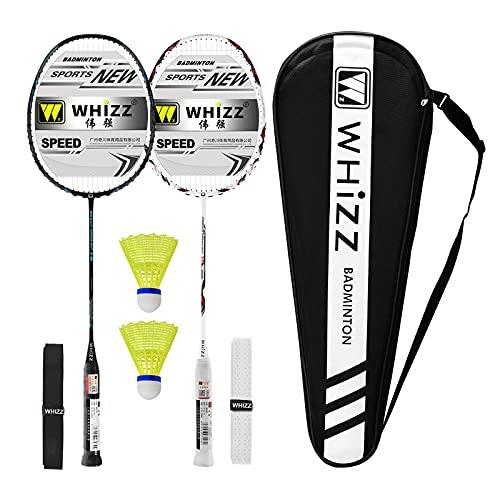 Whizz Kratzfestes Design Badminton Schläger Racket Set mit Tasche Griffband, 100{e19ab7cc8f9a96a255d34630114d35146ced19d86fc377fcbf84e5ebe0567936} Graphit (Y56 Schwarz+Weiss)