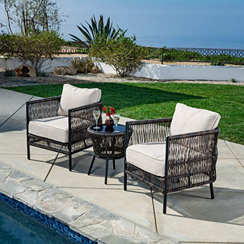AE Outdoor DPS204930 Palmer 3 Pc Wicker Deep Seating Set, Tan