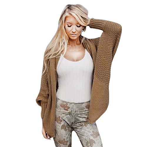 iHENGH Damen Kardigan Top,Ladies Winter Open Front Solid Pocket Cardigan Outwear LangäRmelpullover Coat Tops (One Size,Khaki)