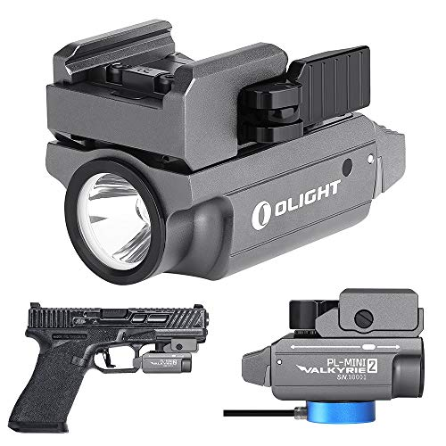 OLIGHT PL-MINI 2 valkyrie 600 Lumens Magnetic USB Rechargeable Compact Weaponlight with Adjustable Rail for Glock, Picatinny Rail Pistol Light (Limited Edition: Gunmetal Grey)
