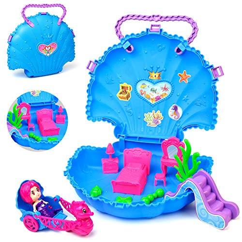 yoptote Caja de Muñecas con Mini-Figuras y Accesorios,Casa de Muñecas Maletin Maquillaje Juguete de Bricolaje Regalo de Cumpleaños de Navidad para Niños 3 4 5 años