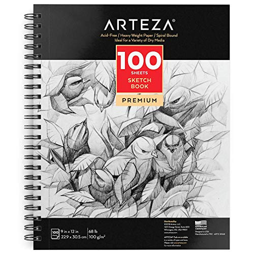 "Spiral Bound Artist Drawing Book for Kids /& Adults Arteza 8/""X10 Drawing Pad 80lb//130g 50 Pages Durable Acid Free Sketch Paper"