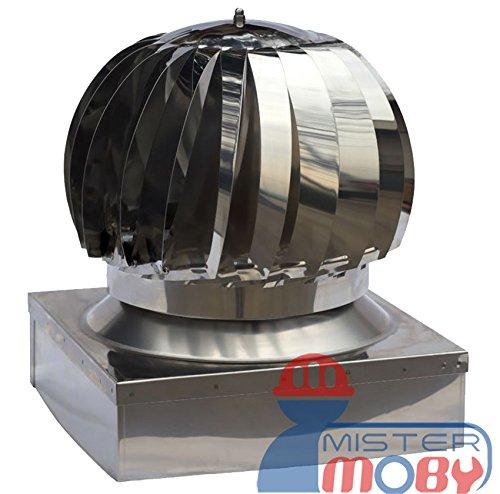 Mistermoby Aspiratore Aspiratore Girevole Eolico In Acciaio Zincato Aspira Fumo E Fumi Comignolo Dimensioni 32X42 Centimetri