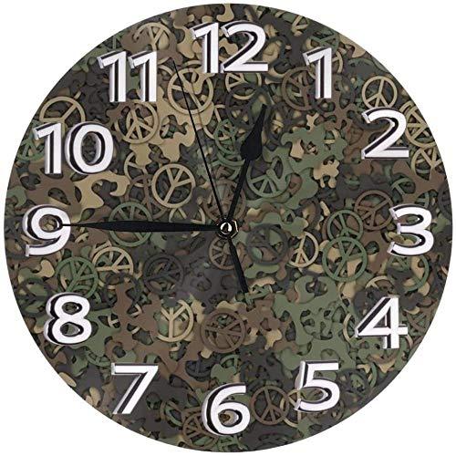 XXSCXXSC Wall Clock Army Camo Desk Clocks Mute Metal Decorative For Gym Restaurant Modern Accurate