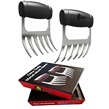 Cave Tools Meat Claws - STAINLESS STEEL PULLED PORK SHREDDERS - BBQ Forks for Shredding Handling & Carving Food from Grill Smoker or Crock Pot - Metal Barbecue Slow Cooker Handler Accessories by