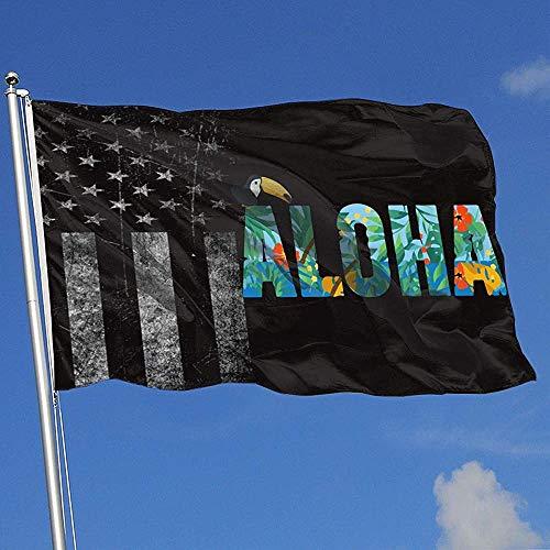 Elaine-Shop Außenflaggen Aloha Hawaiian Flower und Toucan Worn-Out USA Flagge 4 * 6 Ft Flagge für Wohnkultur Sport Fan Fußball Basketball Baseball Hockey
