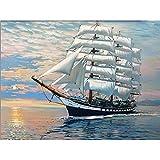 DIY Ölgemälde Geschenk Für Erwachsene Kinder Malen Nach Zahlen Kits Weißes Segelmeer Seano No Frame