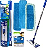 Professional Microfiber Hardwood Floor Mop For Hardwood Floor Cleaning - Advanced Wet & Dry Flat Microfiber Mop For Hardwood Floors - 3 Drag Resistant Pad Kit Suitable As Dust Mops For Hardwood Floors