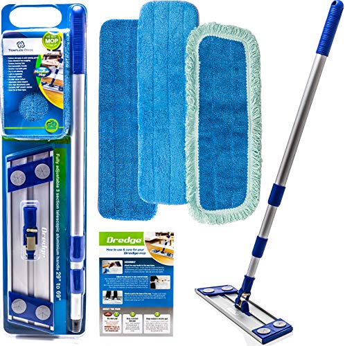 Microfiber Hardwood Floor Mop - Dust Mop For Hardwood Floor Cleaning - Advanced Wet & Dry Flat Microfiber Mop For Hardwood Floors - 3 Drag Resistant Pad Kit Suitable As Dust Mops For Hardwood Floors