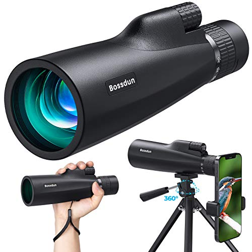 Bossdun 10-30x50 HD Monocular Telescope, High Power Magnification Monocular for Adults with Smartphone Holder, Rotatable Tripod, BAK4 Prism and FMC for Wildlife, Concerts, Camping, Scenery