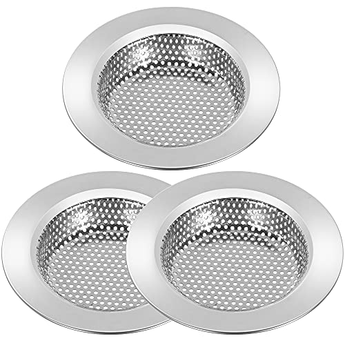 3 Pcs Kitchen Sink Strainer Stainless Steel, 4.5 Inch Sink Drain Strainer, Thicken Drain Filter Strainer with Large Wide Rim, Fit Most Standard Sink Drains and Garbage Disposals, Dishwasher Safe