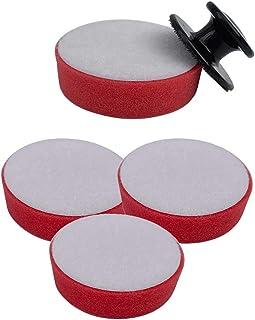 4個入り キッチン スポンジ ハンドル1個付き 繰り返し用 シンク 掃除 食器洗いスポンジ カラースポンジ たわし ミニ 泡立ち(レッド)