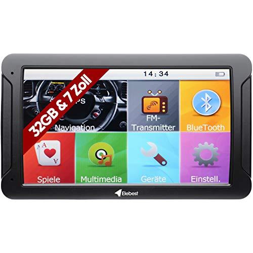 Elebest City 80 Navigationsgerät Navi 32 GB Speicher 17,8cm 7 Zoll Display Topaktuellem Karten und Radarwarner für PKW LKW Wohnmobil GPS Navigation Fahrspurassistent, Bluetooth
