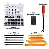 Homvik 415piezas Remaches Plásticos para Coche Grapas Coche para Guardabarros Parachoques Puertas Retenedores Coche con Herramienta de Desmontar y Bridas de Plastico