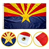 Winbee Arizona State Flag 3x5 Ft - Double Sided Embroidered, Long Lasting 300D Nylon, Sewn Stripes, Brass Grommets and UV Protected. Perfect for Outdoor/Indoor Display. Best 3x5 American Arizona Flag