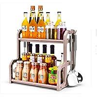 GJSN キッチン棚オーガナイザーラック、ダブルキッチンラック床調味料調味料収納ストレージラックキッチンまな板,箸なし