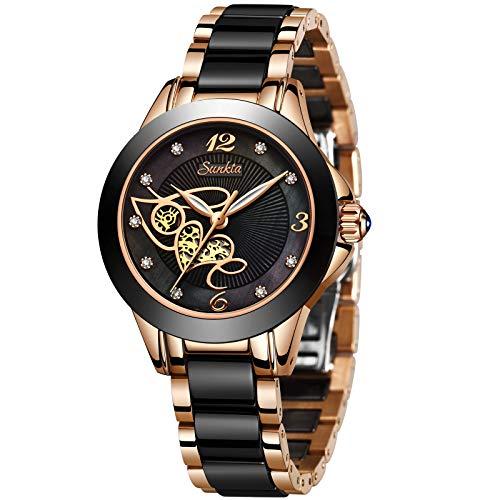 LIGE - Reloj de pulsera para mujer con correa de cerámica impermeable y elegante para mujer