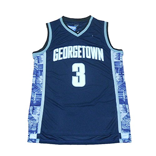 Men's Georgetown Collegiate Athletic #3 Retro Embroidered Navy Basketball Jersey- (XXL)