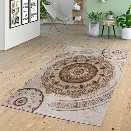 Vloerkleed, laagpolig, ornamenten, cirkels en versacedesign, patroon in beige, crème, bruin