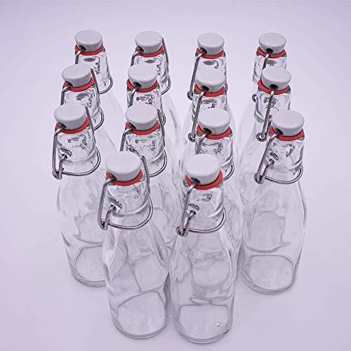 14 Leere Taschenflasche 200ml Glasflaschen mit Bürgelverschluss – Kleine Flaschen zum Befüllen mit z.B. Likör, Schnaps, Essig und Öl – Mini Flaschen/Schnapsflaschen klein