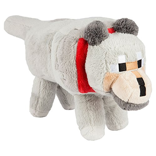 "JINX Minecraft Wolf Plush Stuffed Toy, Gray, 15"" Long"