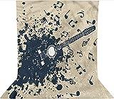 Fondo de fotografía de 3 x 3,6 m, fondo de fotografía de guitarra acústica, decoración de tela de microfibra, pantalla plegable de alta densidad para cumpleaños, bodas, festivales temáticos