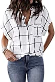ZJP Women's Stand Collar Batwing Sleeve Button Up Plaid Blouse Casual Tee Tops White, Small