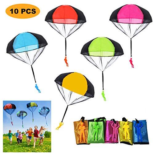 SUPRBIRD Fallschirm Spielzeug Kinder, 10 Stück Fallschirmspringer Hand werfen Fallschirm Outdoor Flugspielzeug Geschenk für Kinder, Wurf Parachute Spiele für Draußen
