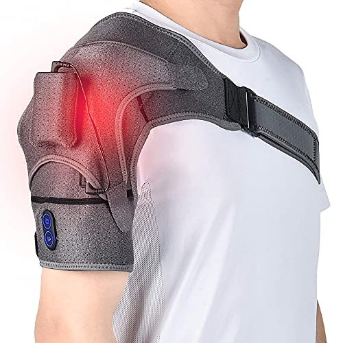 Massager Heating Shoulder Wrap, AFDEAL Wireless Heated Pad 3 Vibration and 5 Temperature Settings Adjustable Electric Brace Support with Hot and Cold Therapy for Frozen Back Dislocated Joint