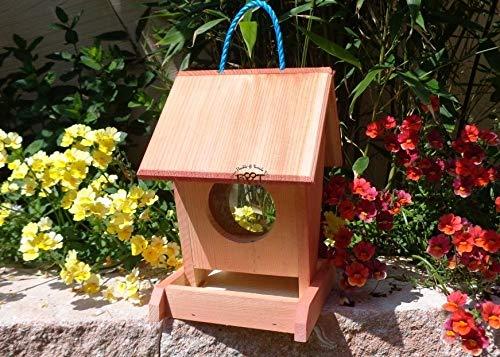 Vogelfutterstation-BTV-X-VOFU1K-rot001 Große Premium Vogelhaus-Futterstation Rot lachsrot behandelt, aus Holz, als Ergänzung zum Meisen Nistkasten Meisenkasten oder zum Insektenhotel, Premium Vogel