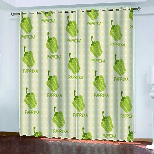MQWEMJ Cortinas Opacas Chile Verde Amarillo Cortinas Impresas en 3D para salón, Dormitorio, Habitacion Aislantes Termicas Frio y Calor Opacas 110x215cm x2