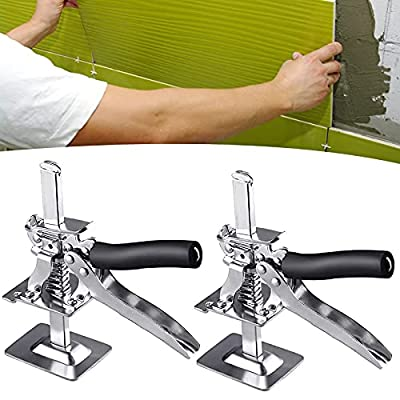 Handheld Tile Leveling System Arm Hand Tool Jack All-Steel Ceramic Tile Height Regulator Precision Locator Adjustment Device Lifting Positioning Construction Labor-Saving Arm for Walls Floors (2pack)