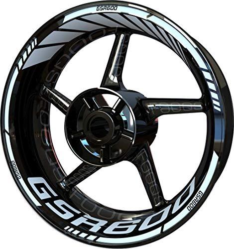 Motocicleta Moto Llanta Inner Rim Tape Decal Pegatinas F2 para Suzuki GSR 600 (Blanco 2)