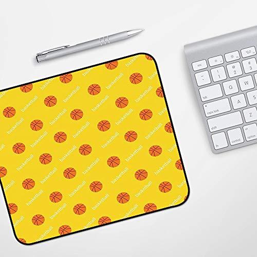 Gaming Mousepad Mauspad,Basketball, Leichtathletikliga Themenbälle auf gelbem Hintergrund Ziel Spaß Spiel Match Dekorativ, Gelb Orange,Komfort Mousepad - verbessert Präzision und Geschwindigkeit