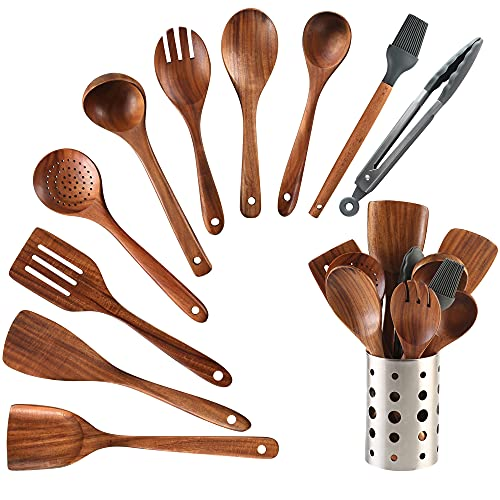 Wooden Cooking Utensil Set 11PCS Kitchen Cooking Tools Spoon & Spatula Mix Nonstick Kitchen Gadgets Perfect for Nonstick Pots and Pans Cookware Turner