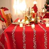 Deconovo Mantel Mesa Rectangular Mantel de Navidad Decoración Dibujo Rayas 140 x 300 cm Rojo