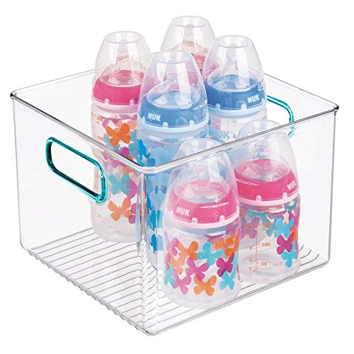 mDesign Storage Organizer Container Bin with Handles for Baby Supplies in Kitchen Pantry Nursery Bedroom Playroom  BPA Free amp Food Safe  Holds Snacks Bottles Baby Food  Clear/Blue