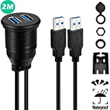 USB 3.0 Mount Cable - Powerbeast 2M/6.6ft Dual USB 3.0 Extension USB Mount,Dash...