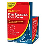 MagniLife Pain Relieving Foot Cream Soothing Relief for Soreness, Pain, Burning, Tingling, Itching or Sensitivity in Feet & Legs - All-Natural Moisturizing Topical - Petroleum-Free - 4oz