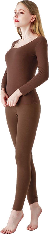 Women Soft Thermal Underwear Set Cationic Heating Crewneck Top & Bottom Base Layer Long Homewear Set
