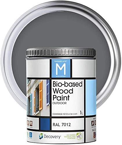 Pintura para Madera   Color Gris   Bio-based Wood Paint RAL 7012   1 L   Para todo tipo de Madera   Pintura madera exterior con un aspecto de acabado semi mate cálido y sedoso