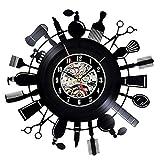 Wjchao Reloj de Pared con Registro de Vinilo Shopping Haven Cosmetics Perfumería Reloj de Vinilo