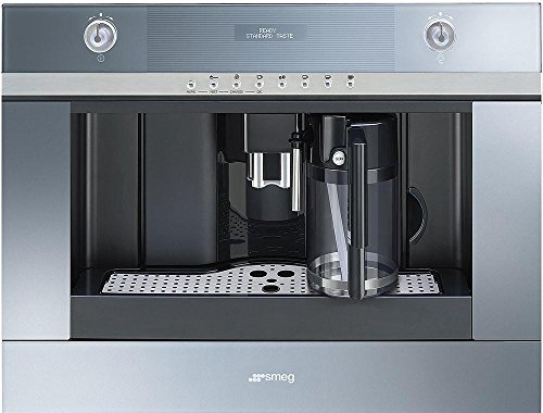 Smeg CMSCU451S 24'' Linea Built-In Coffee Machine with Milk Frother Fully Automatic for Coffee Beans 5 Level Adjustable Coffee Strength in Stainless
